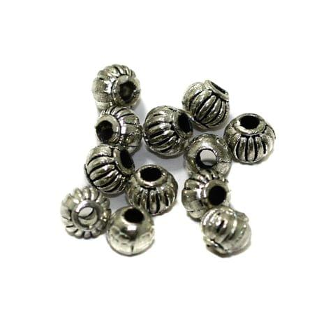 100 Pcs German Silver Round Beads 4mm