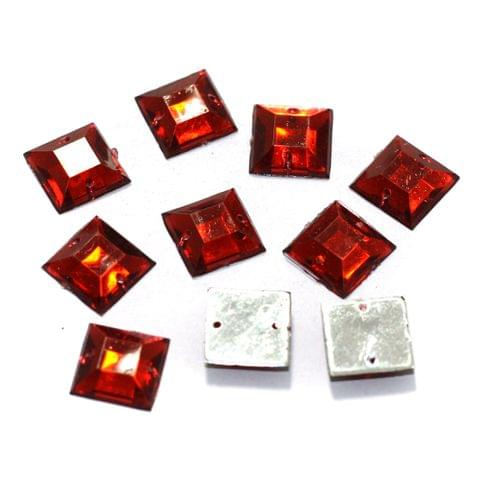 100 Pcs Acrylic Square Beads Red 12mm