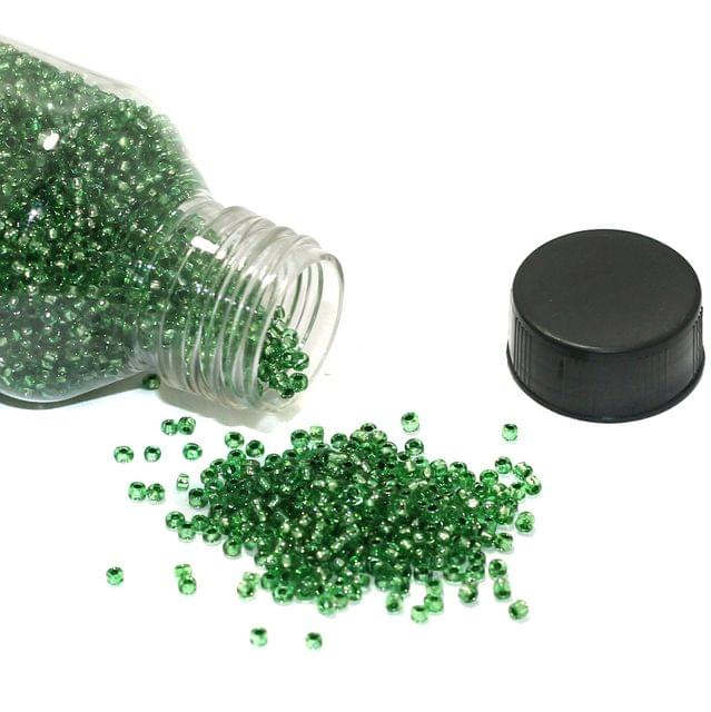 150 Gms Silver Line Glass Seed Beads Green 11/0