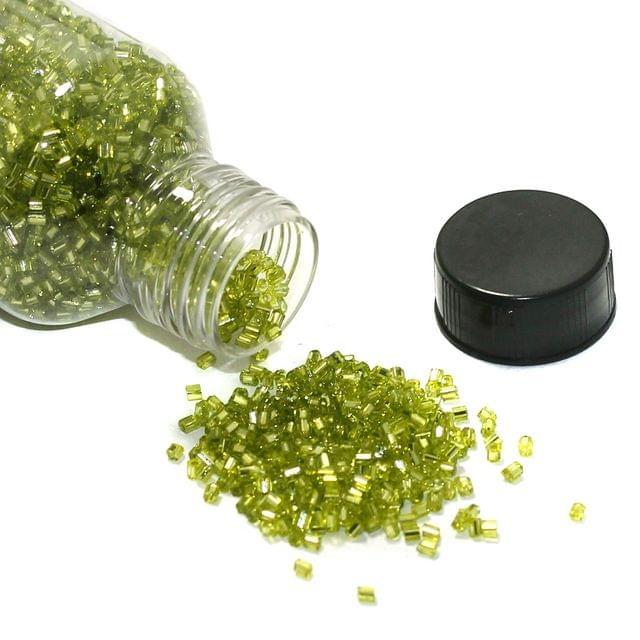 150 Gms 2 Cut Silver Line Glass Seed Beads Peridot 11/0