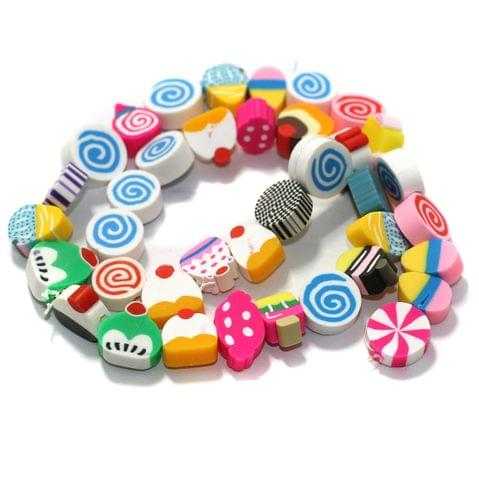 Cookies Multicolor Polymer Clay Fimo Beads 1 String, 10x4mm