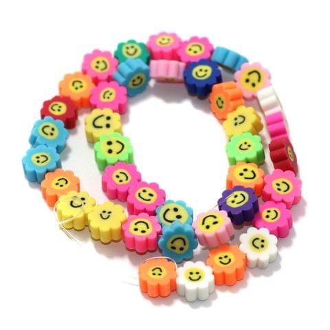 Sunflower Smiley Multicolor Polymer Clay Fimo Beads 1 String, 10x4mm