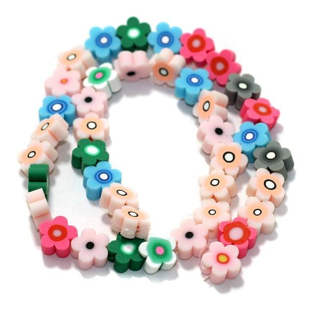 Flower Multicolor Polymer Clay Fimo Beads 1 String, 10x4mm