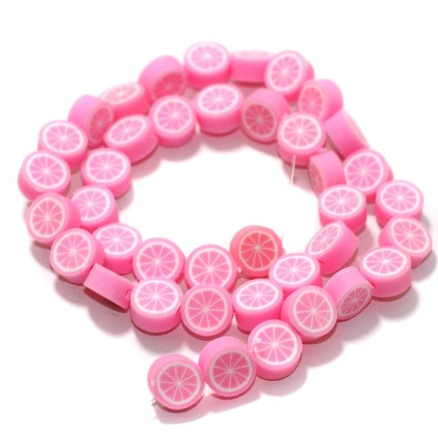 Pink Polymer Clay Fimo Beads 1 String, 10x4mm