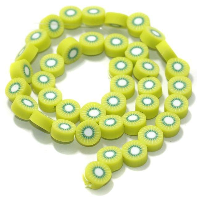 Kivi Polymer Clay Fimo Beads 1 String, 10x4mm