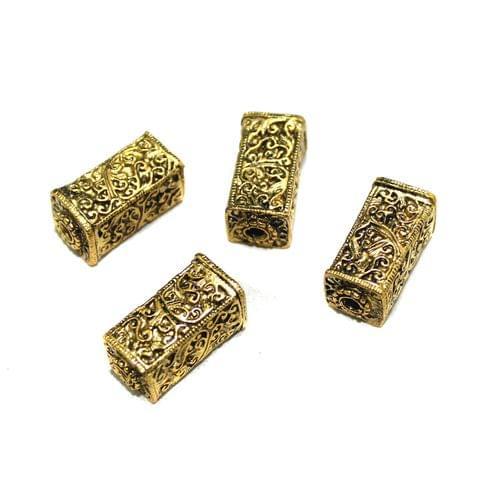 4 Pcs German Silver Golden Plated Beads 25x13mm