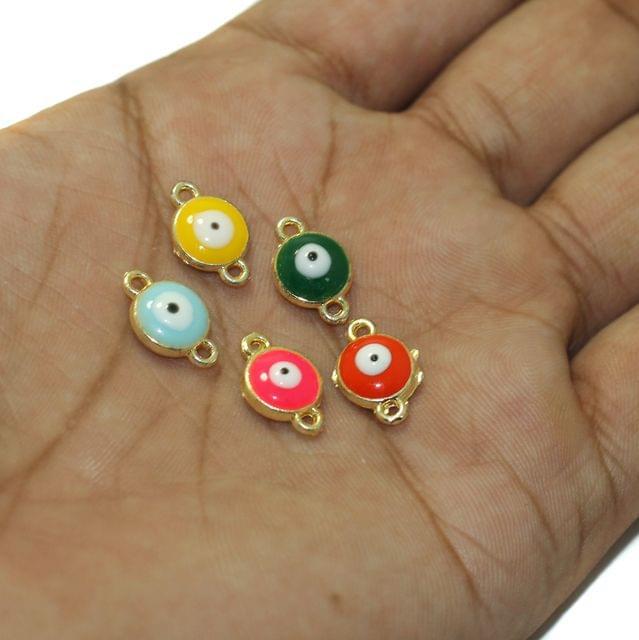 5 Pcs Evil Eye Connectors Charms Assorted Color