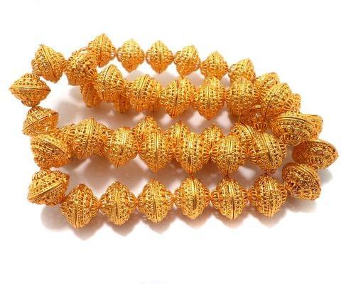 10 Pcs German Silver Rondelle Designer Beads Golden 19x15mm