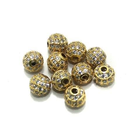 4 Pcs CZ Beads Golden Round 10mm