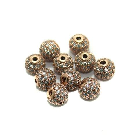 4 Pcs CZ Beads Round Copper 10mm
