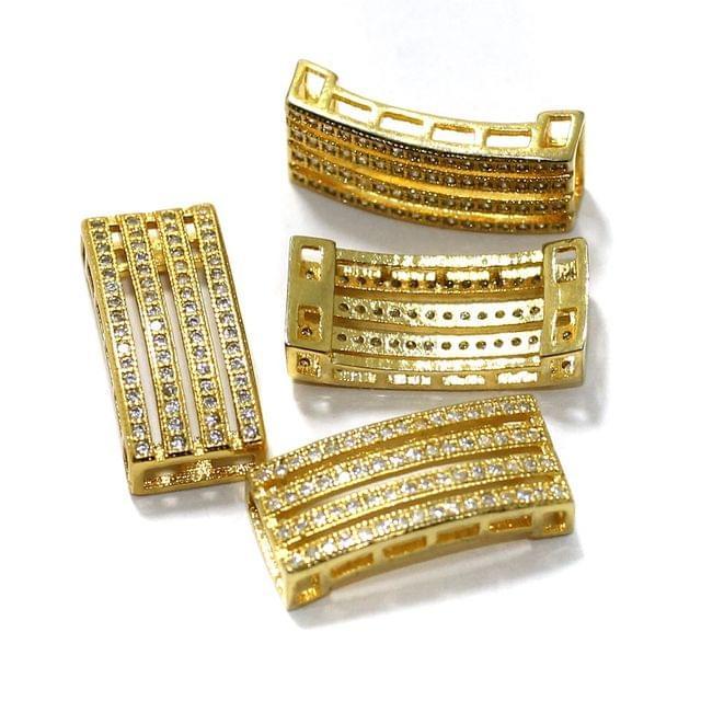2 Pcs CZ Stone Spacer Beads Golden