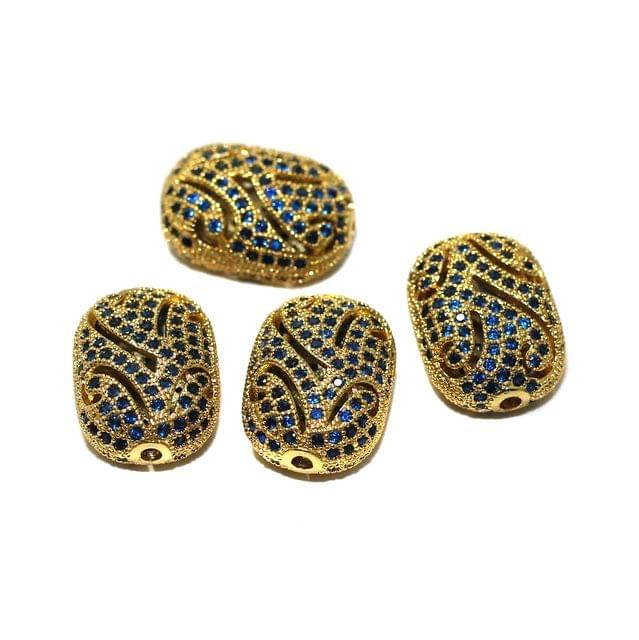 2 Pcs CZ Stone Spacer Beads Rose Golden