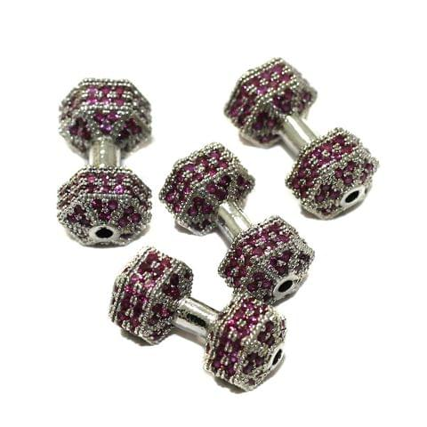 2 Pcs CZ Stone Spacer Beads Silver