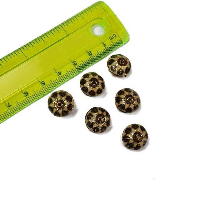 13mm, 6 pcs, Golden Meenakari Beads