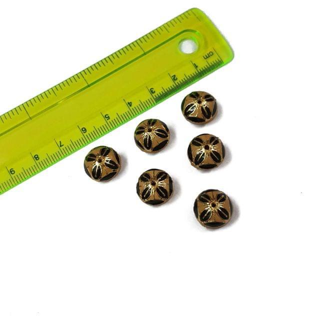 13mm, 6 pcs, Peach Black Meenakari Beads