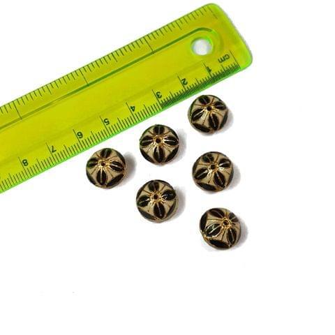 13mm, 6 pcs, White Black Meenakari Beads