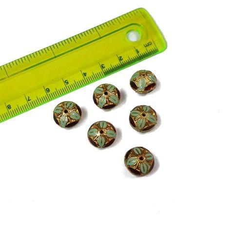 13mm, 6 pcs, Turquoise Meenakari Beads