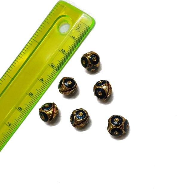 10mm, 6 pcs, Dark Blue Meenakari Beads