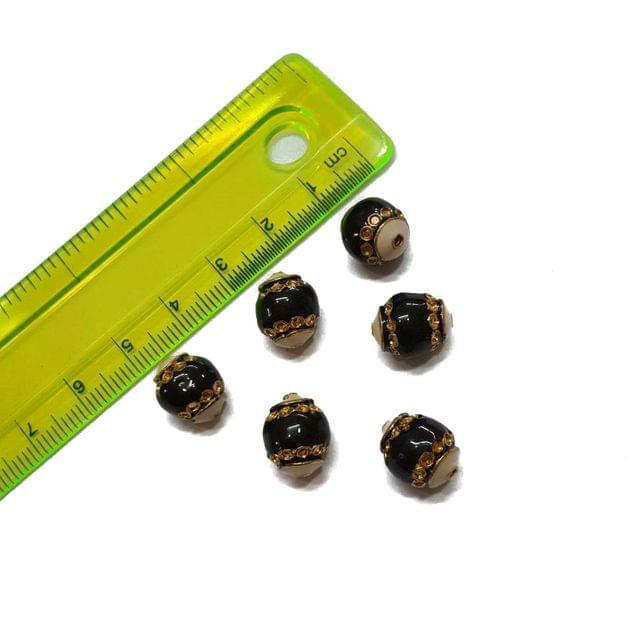 10x12mm, 6 pcs, Black Meenakari Beads