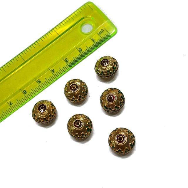 13mm, 6 pcs, Golden Green Meenakari Beads