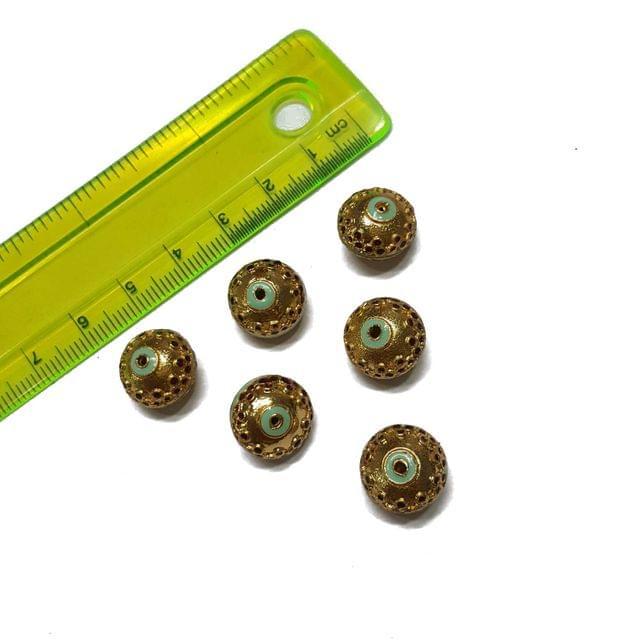13mm, 6 pcs, Golden Turquoise Meenakari Beads
