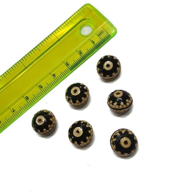 13mm, 6 pcs, Black Meenakari Beads