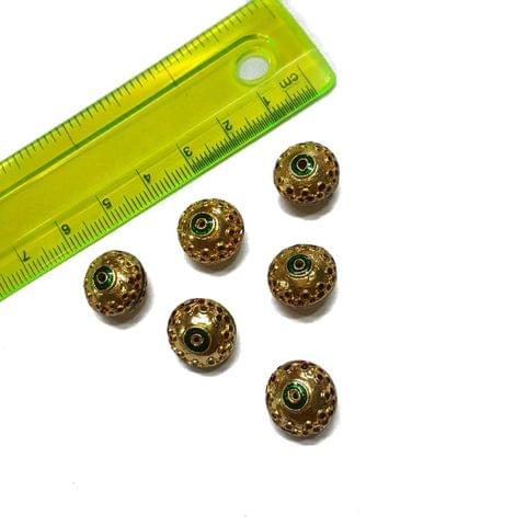 13mm, 6 pcs, Golden Red Meenakari Beads