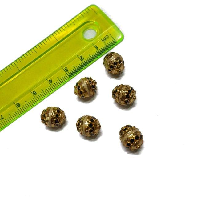 9x12mm, 6 pcs, Golden Black Meenakari Beads