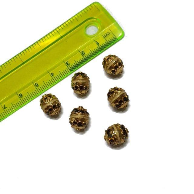 9x12mm, 6 pcs, Golden Meenakari Beads