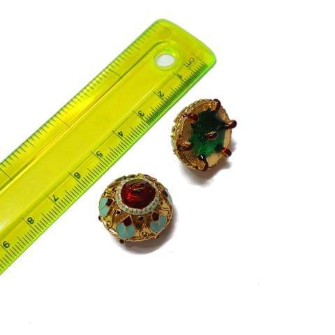21mm, 2 pcs, Golden Turquoise Meenakari Jhumki
