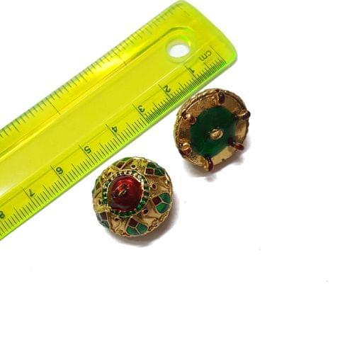 21mm, 2 pcs, Golden Green Meenakari Jhumki