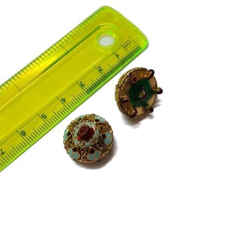 18mm, 2 pcs, Turquoise Golden Meenakari Jhumki