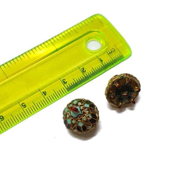 15mm, 2 pcs, Black Turquoise Meenakari Jhumki