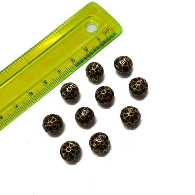 10mm, 10 pcs, Black Meenakari Beads