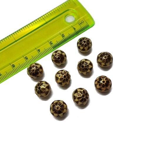10mm, 10 pcs, Peach Golden Meenakari Beads