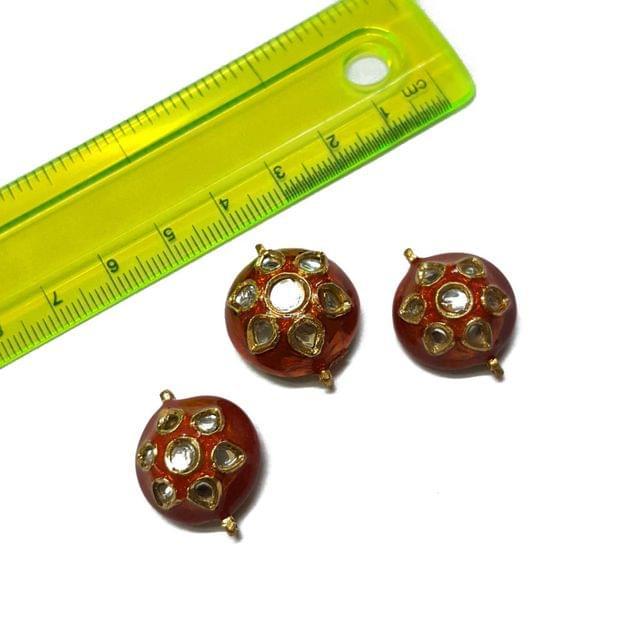 25x23x23mm, 3 pcs set, Orange Meenakari Set