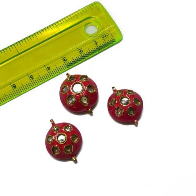 25x23x23mm, 3 pcs set, Hot Pink Meenakari Set