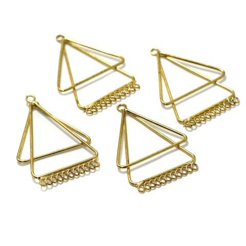 2 Pairs Brass Earrings Components Golden 2 Inch