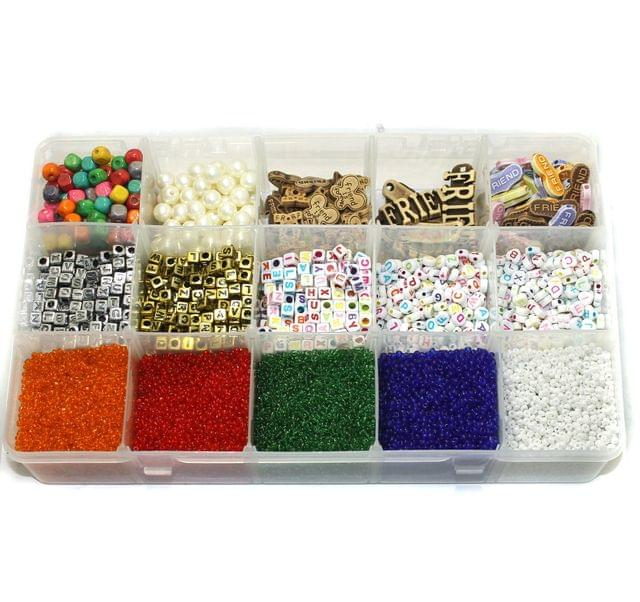 Alphabets Beads, Friends Beads, Seed Beads and Wooden Beads DIY Kit
