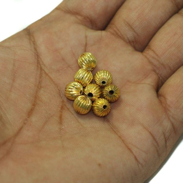 100 Golden Finish Liner Round Beads 7mm