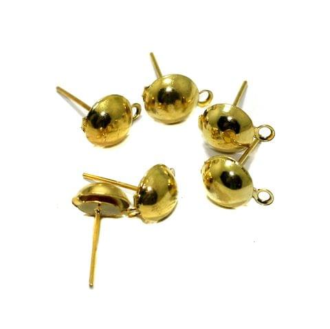 5 Pairs 8mm Half Ball With Closed Loop Earring Posts