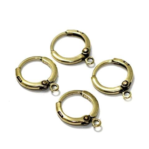 5 Pair Brass Lever Back French Hook Ear Wire With Open Loop 15mm