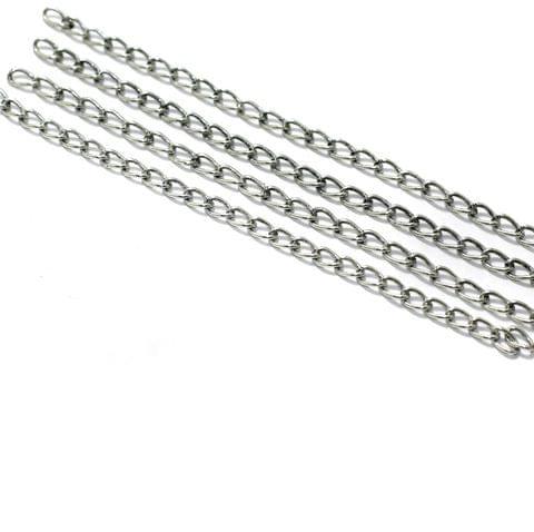 50 Pcs, 5 Inch  Brass Link Chain Extender Silver