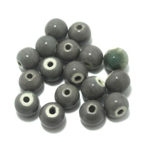 Ceramic Beads Gray Round 30 Pcs 16x12mm