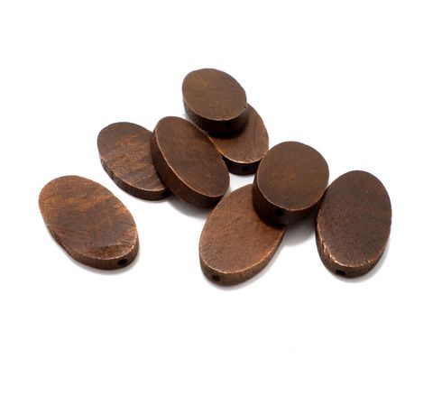 50 Pcs. Wooden Flat Oval Beads Chocolate 33x19 mm