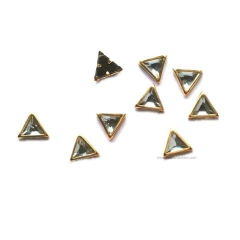 6 MM Triangular Kundan stones Golden Prongs for Kundan jewellery making rangoli, crafts, silk thread jewellery making