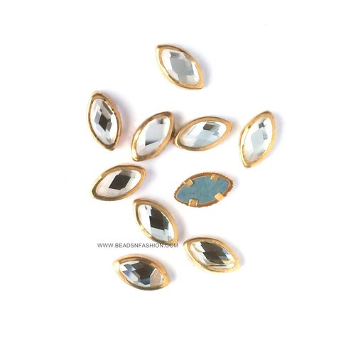 8 mm Marquise Kundan eye shaped kundan stones Golden Prongs for Kundan jewellery making rangoli crafts