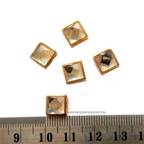 6 mm Square Kundan stones Golden Prongs for Kundan jewellery making rangoli crafts