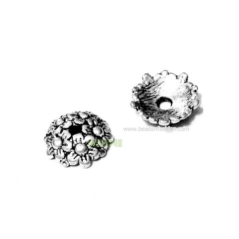 Antique silver flowers beadcaps