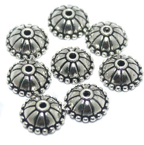 50 Pcs German Silver Bead Caps 10x4